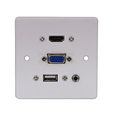 LINDY 3.5 mm HDMI VGA and Plastic USB Multi AV Faceplate - White