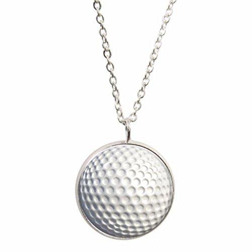 Golfball Design Anhänger mit vergoldete Halskette in Geschenkbox
