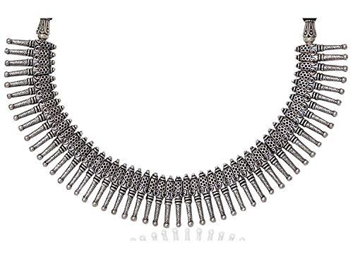 Sansar India Oxidized Silver Metal Kolhapuri Choker Necklace for Women