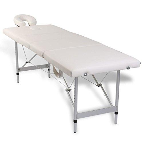 Lettino massaggio pieghevole bianco crema 4 zone con telaio alluminio.lettino massaggio professionale letto massaggio lettino massaggio regolabile