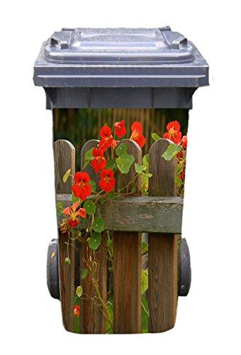 *Mülltonnen-Aufkleber Motiv Garten 2 31 cm x 70 cm für 120 l Tonne*