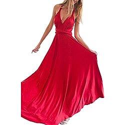 Lover-Beauty Vestido Largo Elegante Mujer Sexy Verano Fiesta Hombro Descubierto Vestido Rojo y Sin Manga Cintura Alta Dama de Honor Boda Ceremonia