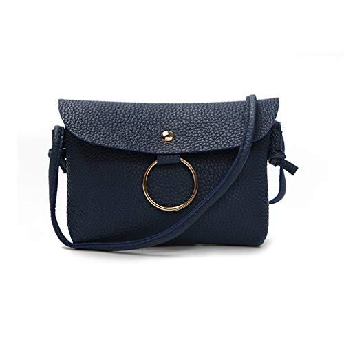 LIXIAQ1 Litchi Muster Schultertasche Retro Leder Satteltaschen für Frauen Leder Classy Schulter Crossbody Taschen Geldbörse Flache Muster, blau - Muster Flache Geldbörse