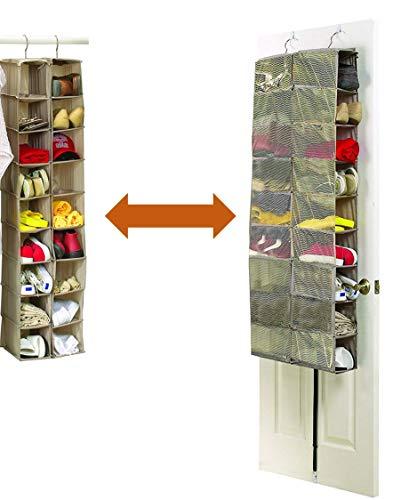 Organizer per sportello di armadio o porta, con 18 tasche, per scarpe, in resistente tela da 600D, 34 x 138 x 30 cm o 60 x 138 x 17 cm - por Brilliant Feet