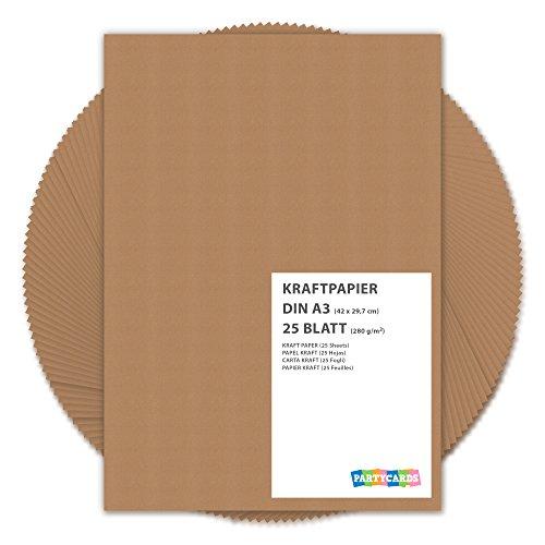 25 BLATT Kraftpapier / DIN A3 280g /m² - ca 30 x 42 cm / Bastelkarton für Kinder / Karten + Einladungen zu Geburtstag + Hochzeit / Vintage Papier aus festem Karton / 25er Block blanko Bastelpapier / Set zum Basteln in braun