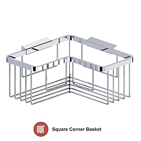 Square Shower Basket (Heavyweight Brass Base with High Quality Chrome Plating) 200mm (w) x 80mm (h) x 200mm (d)