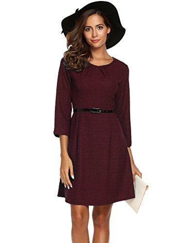 Parabler Damen 3/4 Arm Business Kleid Elegant A-Linie Kleid Partykleid mit Gürtel Wine Rot
