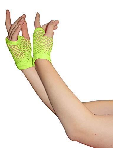 Fischnetz-shorts (Neonfarben Shorts Fischnetz Handschuhe - Grün)