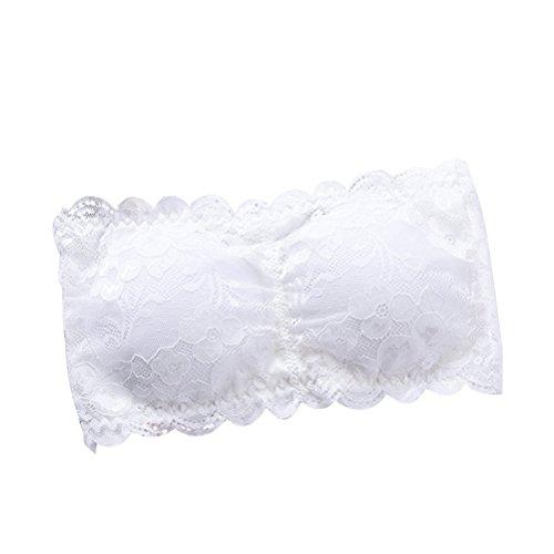 Tinksky Damen-Spitze-Bandeau-Rohr-Büstenhalter-Oberseite Futter-Schlauch-Ernte trägerloses nahtloses Stretchy Bandeau-Oberseite (weiß) (Leichtes Bandeau)