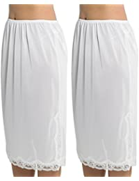 Pack de 2 Pour Femme/Jupon Sous Jupe Pour Mesdames Avec Bordure en Dentelle 100% Polyester Anti Adhérent, Longueur 27 Pouces (68 cms), Différentes Couleurs & Tailles