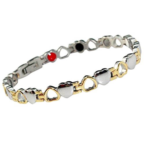Drkao Titan Magnettherapie-Armband für Arthritis Karpaltunnel Schmerzlinderung Magnetische Armbänder für Damen mit Geschenkbox Magnetarmband Damen in Silber Gold Farbe