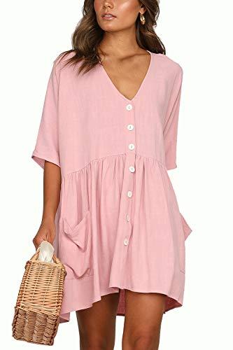 Kleider Basic Damen T Shirt Kleid Kurzarm Causal Lose Button Sommerkleider V-Ausschnitt Mini Kleid Tunika(pk,XL) (Rosa Kleid T-shirt Frauen)