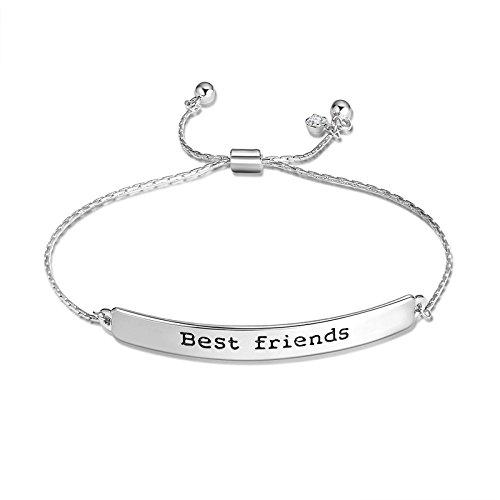 Inspirierende verstellbare Armband mit Zitat Leben Sie lieben und folgen Sie Ihren Träumen Charme Armbänder graviert Armband Schmuck Geschenk für Freundinnen (Beste Freunde)