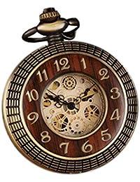 Reloj de bolsillo mecánico de madera tallada con cadena para regalo, número de esfera, números romanos, reloj Steampunk (bronce)