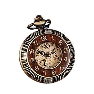 Retro-Taschenuhr-Holz-rund-geschnitzt-mechanisch-mit-Kette-fr-Geschenk-Ziffernblatt-rmische-Ziffern-Steampunk-Uhr-Bronze