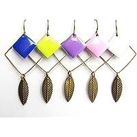 Boucles d'oreilles plume minimaliste Carré - 5 couleurs au choix - bijou tendance géométrie