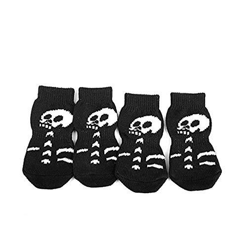 Trifycore 4 PCS Kreative Schädel-Entwurf Haustier Socken Halloween-Skelett Haustier Hund Katze Anti-Rutsch-Socken Stiefel Füße Bedecken Schwarz Größe L