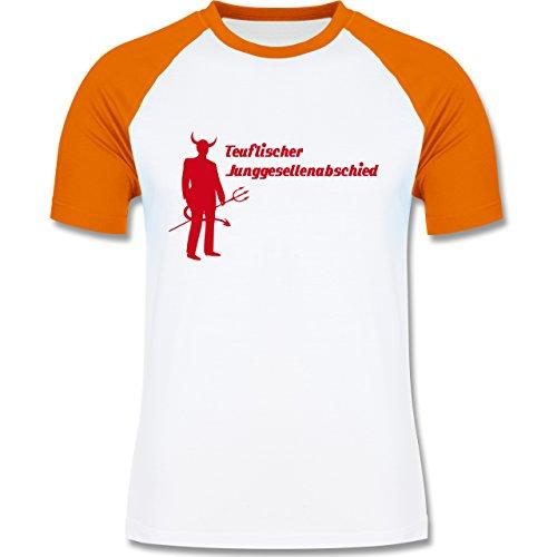 JGA Junggesellenabschied - Teuflischer Junggesellenabschied - zweifarbiges Baseballshirt für Männer Weiß/Orange