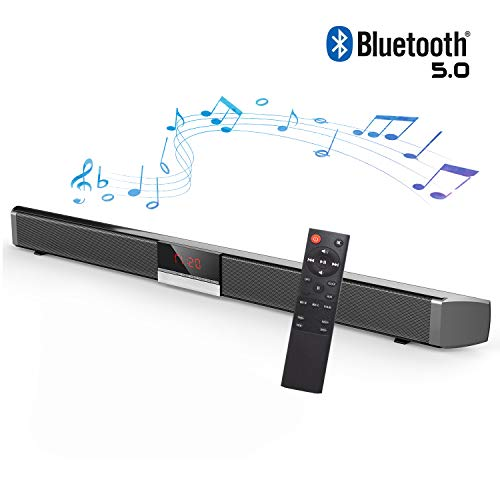 HYASIA Sound Bars for TV, Soundbar with Built-In Subwoofer Surround Sound, Soundbar with Wireless 5.0 Bluetooth Home Theater System, Surround Sound Bar for TV, PC, Cellphone. RCA Cable Included