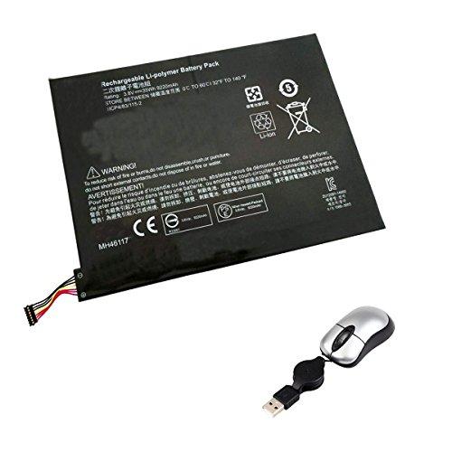 Amsahr MH46117-05 - Batería de reemplazo para HP MH46117, Pavilion X2 10-K020NR Series, X2 10-K010NR, 10-K00 (Incluye Mini ratón óptico) Color Gris