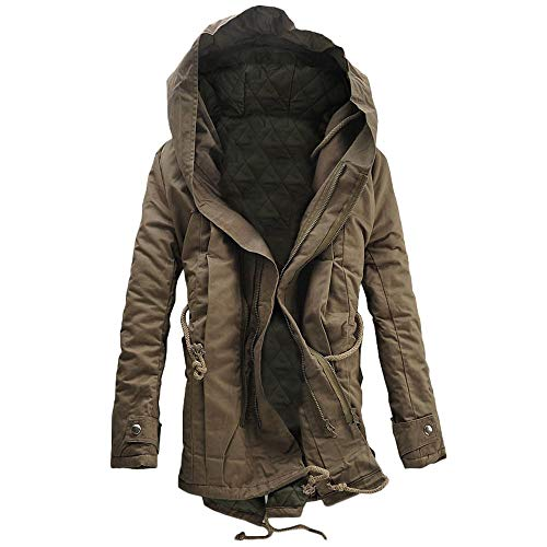 Mantel Herren Winter Warm Kapuzenmantel Zip Dicke Fleece Mantel Outwear Windbreaker Lange Übergröße Warm Gefüttert Trenchcoat Wintermantel Fleece Full Zip Suit