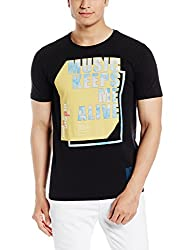 United Colors of Benetton Mens Cotton T-Shirt (17P3C96J4016I_100_Black_XL)