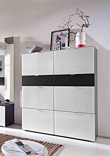 lifestyle4living Schuhschrank, Schuhaufbewahrung, 54 Paar, Garderobe, Garderobenschrank, Flur, Diele, Aufbewahrung, Stauraum-Element, weiß, grau, anthrazit