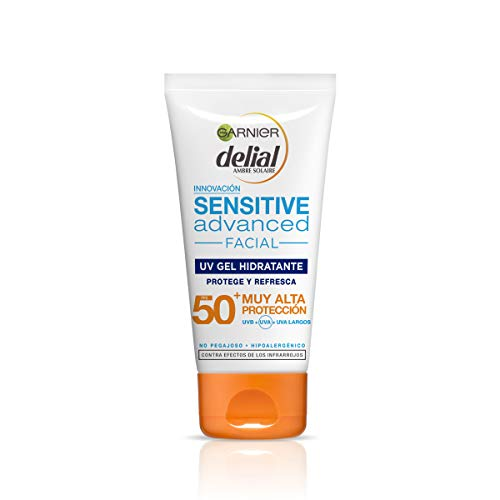 Garnier Delial Sensitive Advanced Crema Facial Hidratante Textura Gel Alta Protección Solar IP50+ - 50 ml