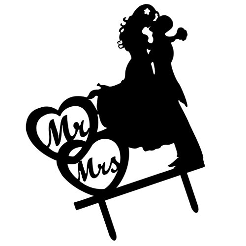Sharplace Acryl Kuchenaufsätze Kuchen Figur Cake Topper für Hochzeit - Mr & Mrs, 16 x 13.7 x 0.2cm