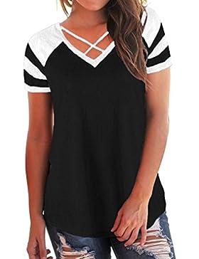 Cinnamou Camiseta Para Mujer, Verano Camisetas Cortas Manga Corta Mujer Bordado de Rosas Camisas de Mujer Camisas...