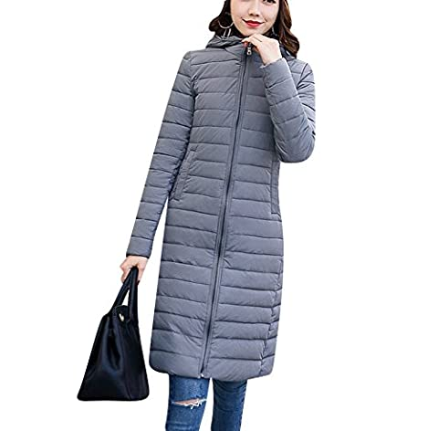 Damen Warm Gefüttert Steppmantel mit Kapuze Slim Fit Steppjacke Lang Mantel Winterjacke Parka Outwear XL Grau