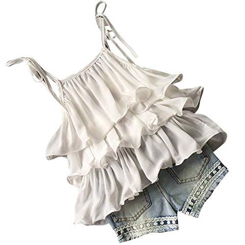 TTLOVE Kleinkind Kinder Baby MäDchen Chiffon Perle Weste Shirt + Jean Shorts Outfits Kleidung Set Perlen Sling RüSchen Top Blumen Denim(Weiß,130) Perlen Sling