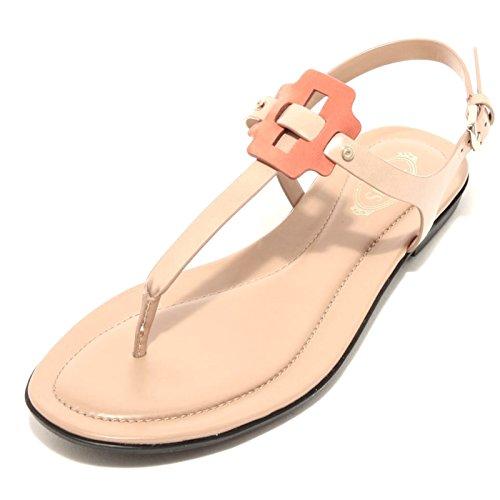 96611 infradito TOD'S pelle gomma scarpa sandalo donna shoes Cuoio