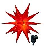 3D Leuchtstern / mit warm-weißer LED Beleuchtung / für Innen und Außen geeignet / hängend / 7,5 m Zuleitung /  ca. 57x44x48 cm (Rot)