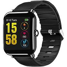 Starriver Reloj Inteligente OUKITEL W2 Bluetooth 1.3 Pulgadas con Pantalla táctil y Ritmo cardíaco (Negro