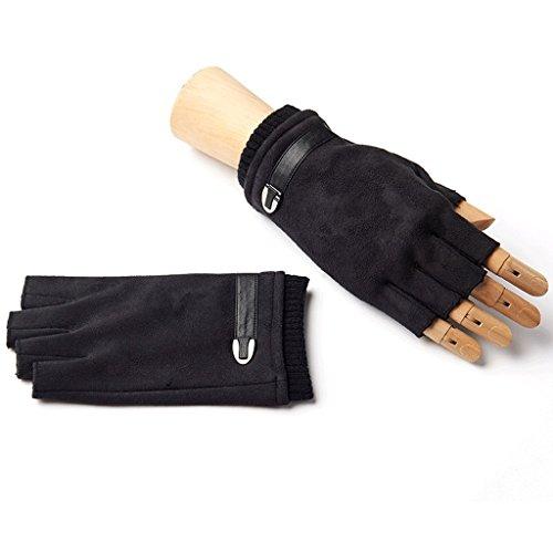 TM060 Winter gestrickt Convertible Fingerlose Handschuhe Unisex Warm Wolle Handschuh Handschuh, ausgesetzt fingerlose Herrenhandschuhe Winter warm Thicken fahren Fleece-Handschuhe, Mode lässig Handschuhe ( Farbe : Schwarz ) (Convertible-manschetten)