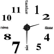 F-Fook estilo Moderno y simple FAI de té Grande en 3D con adhesivo de pared para hogar Reloj de oficina, color negro, diseño de letra y números estilo () negro