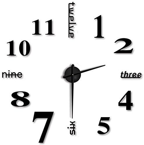Hapileap moderno stile semplice fai da te grande 3d autoadesivo della parete orologio per casa ufficio decorazione nero lettera e numero stile (nero)