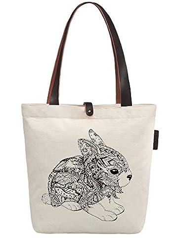 So'each Women's Rabbit Geometry Graphic Canvas Handbag Tote Shoulder
