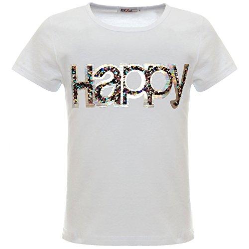 BEZLIT Mädchen Kinder Glitzer Hologramm T-Shirt Oberteil Kunst-Perlen 22542 Weiß 104