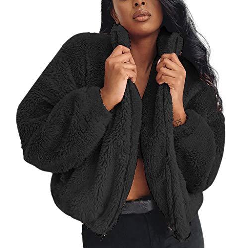 MOTOCO Frauen Warme Mantel Jacke Winter solide Reißverschluss mit Tasche Damen Übergröße Parka Oberbekleidung (XL,Schwarz)