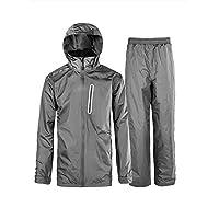 Little Beauty Rain Suits for Men Front-Zip Long Sleeve Pullover Rainwear (Jacket & Trouser Suit) Grey S