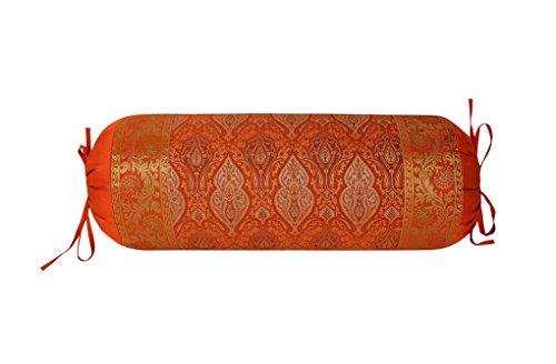 Lalhaveli Runde Form Seide Stoff Orange Farbe Nackenrolle Kissenbezug 76 x 38 cm (Seide Dekorative Nackenrolle)