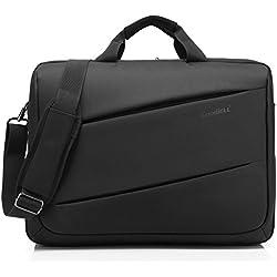 CoolBell 17,3 Zoll Laptop Umhängetasche Multifunktional Aktentasche Messenger Bag mehrfachfach Handtasche mit Schultergurt für MacBook/Acer / HP/Dell Alienware/Lenovo / Herren/Damen,Schwarz