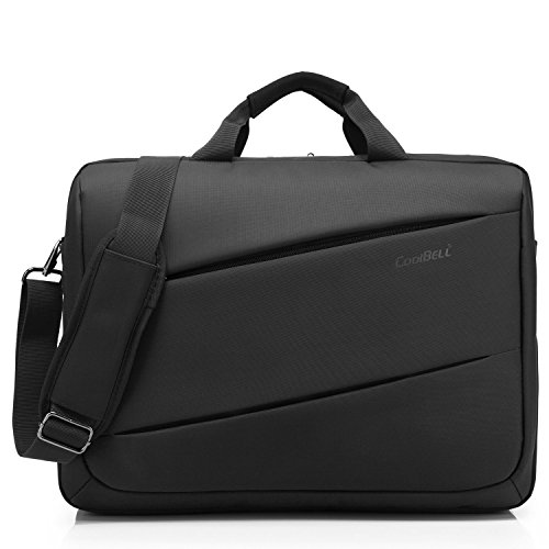 CoolBELL 17,3 Zoll Laptop Umhängetasche multifunktional Aktentasche Messenger Bag mehrfachfach Handtasche mit Schultergurt für Macbook / Acer / HP / Dell Alienware / Lenovo / Herren / Damen,Schwarz (Herren Aktentasche)