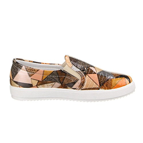 Damen Schuhe, LB930-1, HALBSCHUHE SLIPPER Orange Multi W-33-