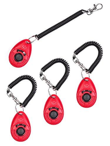 4 Stück in gewünschter Farbe Hunde-Clicker-Klicker Hund-Katze-Pferd-Tier-Ausbildung-Training Erziehung (Rot)