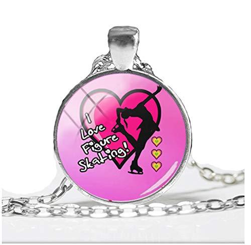 GUHUA Ich Liebe Eiskunstlauf Anhänger Halskette Runde Hand Handwerk Schmuck Gliederkette Anhänger Klasse Kunst Gedruckt Halsketten