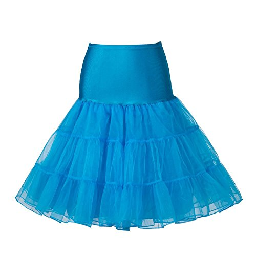 Boolavard 1950 Petticoat Reifrock Unterrock Petticoat Underskirt Crinoline für Rockabilly Kleid, Hellblau, S-M (EU 32-40)
