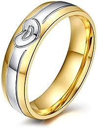 UM Joyería Hombres Mujer Acero inoxidable Cristal Parejas Amor Corazón Anillos Plata Oro